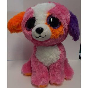 "Ty Silk Beanie Baby Boos Precious Dog 8"" Pink Oran"